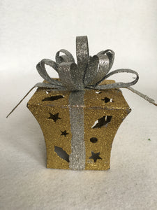 Christmas Light Up Glittered Gold Present