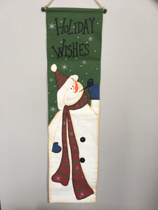 Christmas Holiday Wishes Snowman Wall Hanging