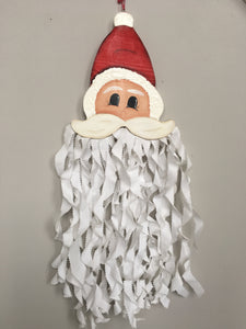 Christmas Hand Crafted Santa With Ruffled Beard Wall Hanging