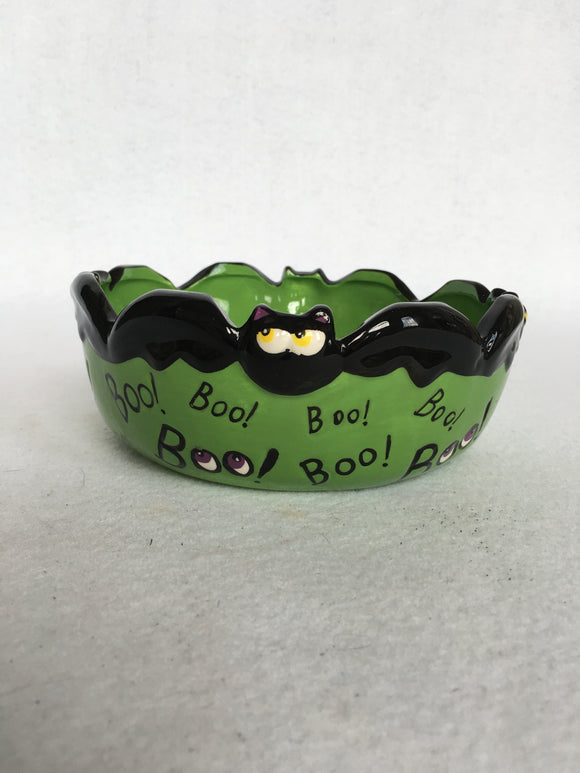 Halloween Green Bat Boo Bowl