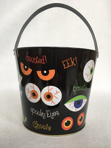 Halloween Metal Scary Eyes Pail