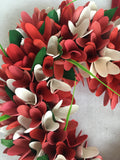 Valentine Wood Curled Flowers Heart Shaped Wreath