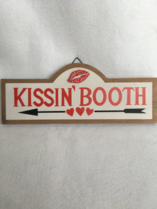 Valentine Kissing Booth With Lips and Arrow Sign