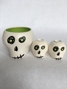Halloween Hallmark Skeleton Head Bowl and Candle Stick Holders