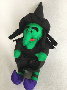 Halloween Plush Witch with Green Face