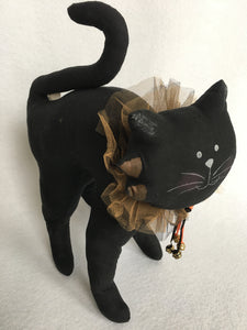 Halloween Black Cat With Ruffled Collar