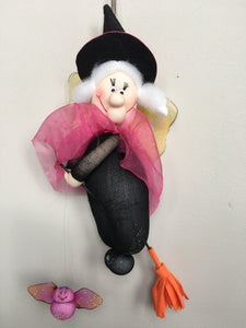 Clearance Hanging Flying Witch with Bat