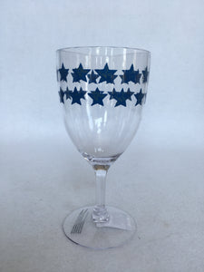 Patriotic Plastic Wine Glasses with Blue Stars