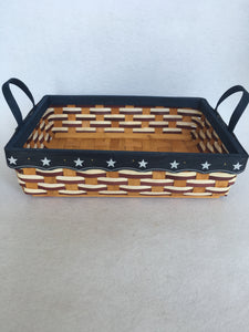 Patriotic Large Rectangle Hand Woven Basket