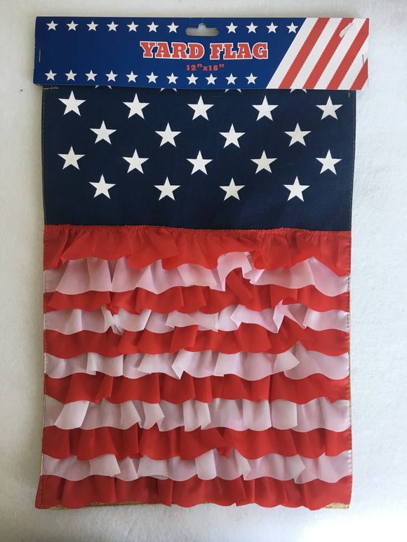 Patriotic Ruffled Yard Flag