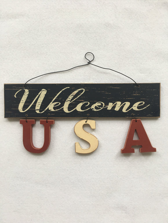 Patriotic Welcome USA Wall Hanging
