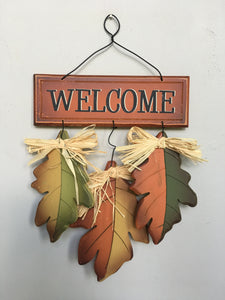 Harvest Welcome 3 Leaf Wall Hanging