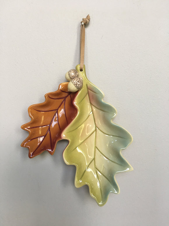 Harvest Russ Berrie and Co. Ceramic Leaf and Acorn Wall Hanging