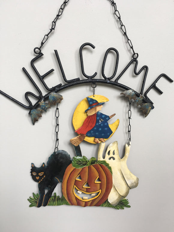 Halloween Metal and Iron Welcome Wall Hanging