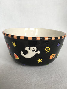 Halloween Ghost, Pumpkin, Stars and Candy Corn Bowl