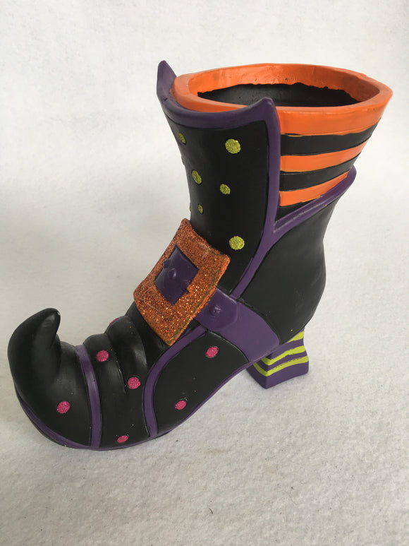 Halloween Witches Boot with Glittered Buckle