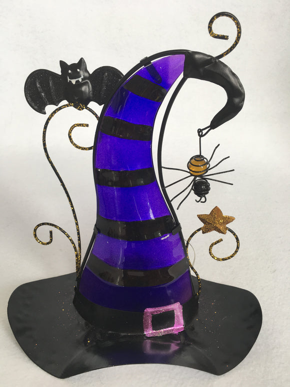 Halloween Light-Up Metal and Glass Witches Hat