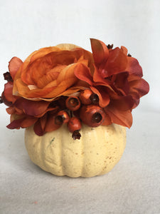 Harvest Medium White Pumpkin Topped With Autumn Flowers and Berries
