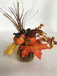 Harvest Display in Small Glass Container