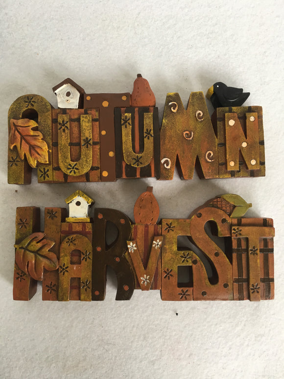 Harvest or Autumn Block Sitter with Bird House, Pumpkin, Crow or Corn Husk