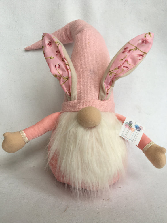 Easter Plush X-Large Pink Gnome Wearing Bunny Ears