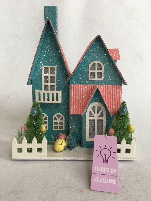 Easter Bunny Light Up Glittered House