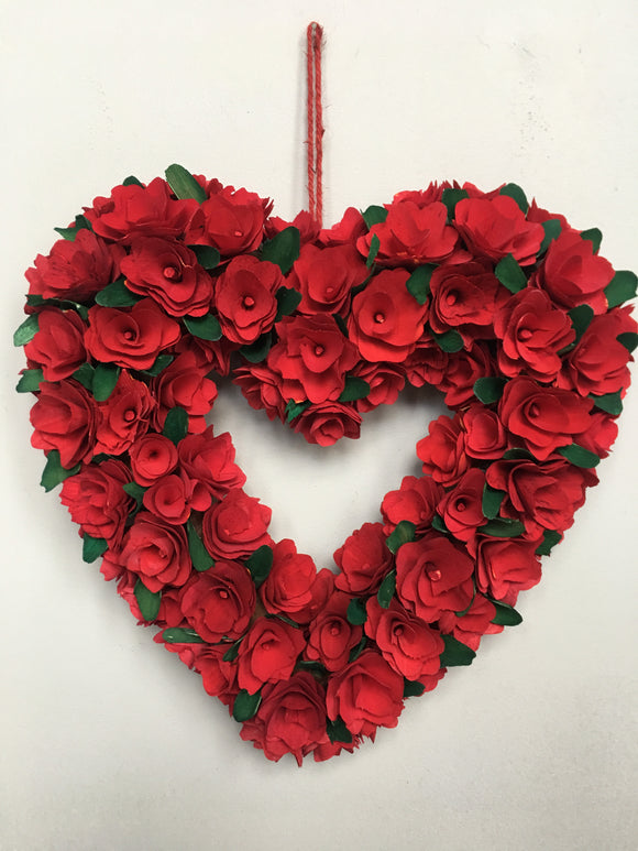 Valentine Wood Curled Shaped Roses Heart Wreath