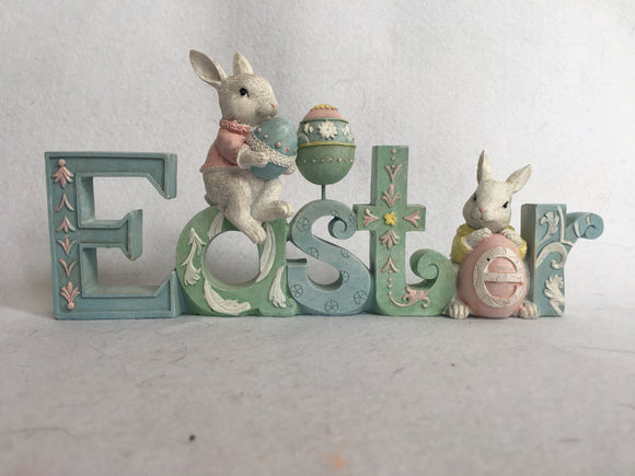 Easter Block Sitter with Bunnies Holding Eggs