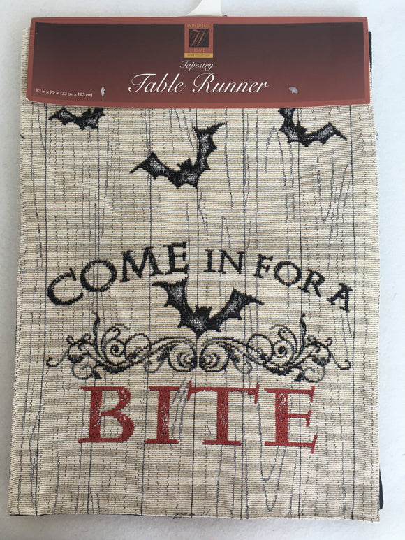 Halloween Come In For A Bite Tapestry Table Runner