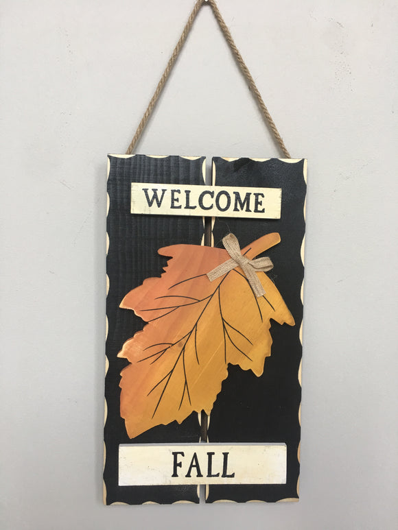 Harvest Wooden Leaf Welcome Fall Wall Hanging