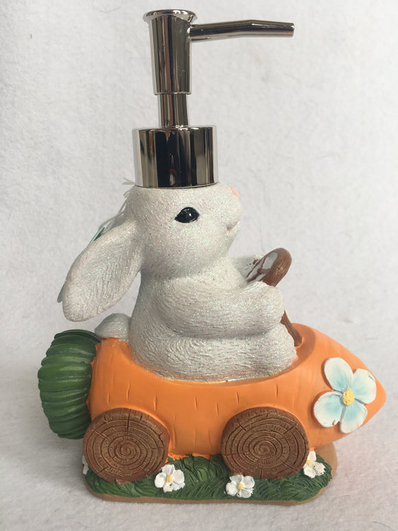 Easter Glittered Bunny Driving Carrot Car Ceramic Soap Dispenser