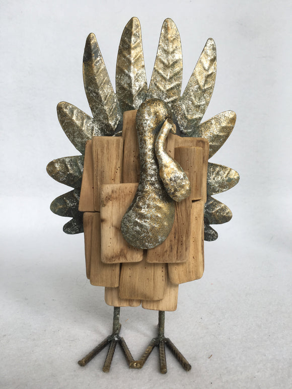 Harvest Thanksgiving Metal and Wood Compact Turkey