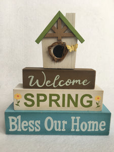 Easter Welcome Spring Bless Our Home Moveable Block Sitter