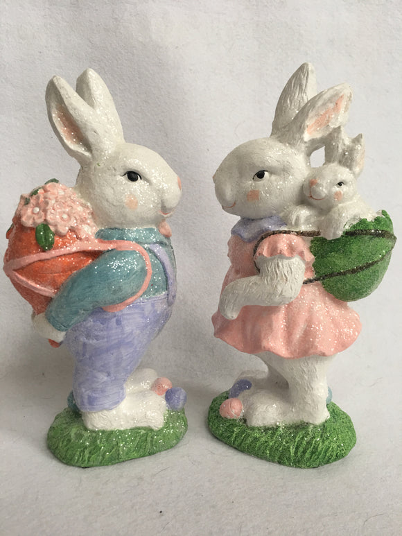 Easter Glittered Bunny Couple