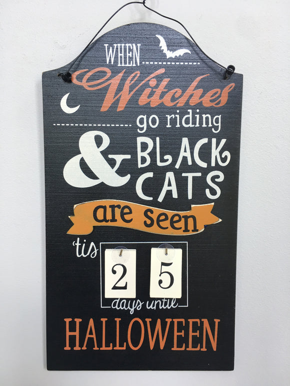 Halloween Witches and Black Cats Countdown Calendar