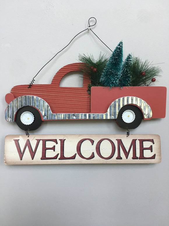 Christmas Wood and Metal Red Truck Welcome Sign