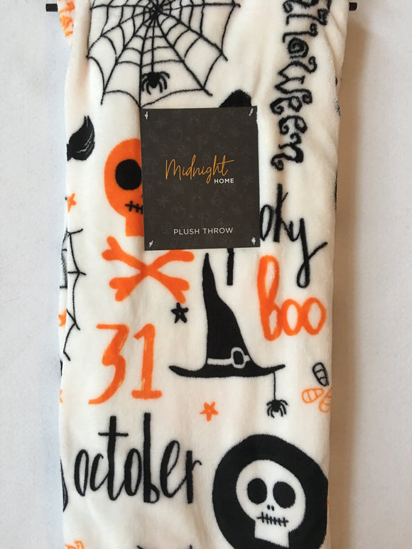 Halloween Midnight Home Spider Skull and Witch Hat Luxe Plush Blanket Throw