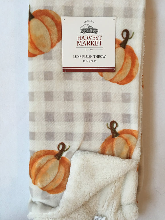 Harvest Market Luxe Plush Pumpkin Blanket Throw