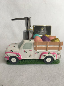 Easter Decorated Truck Delivering Eggs Soap Dispenser