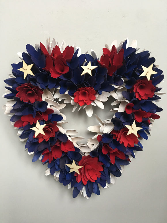 Patriotic Red White and Blue Wood Curled and Rosetta Heart Wreath