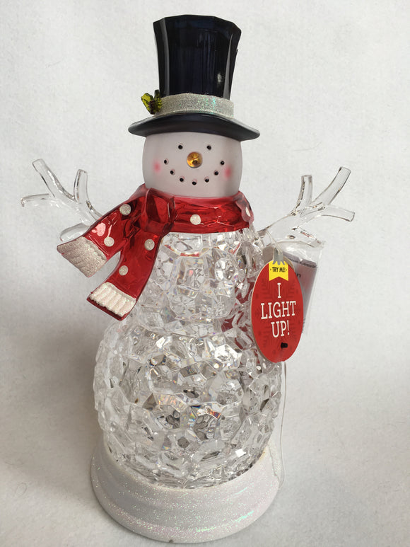 "Christmas 13"" Acrylic LED Snowman"