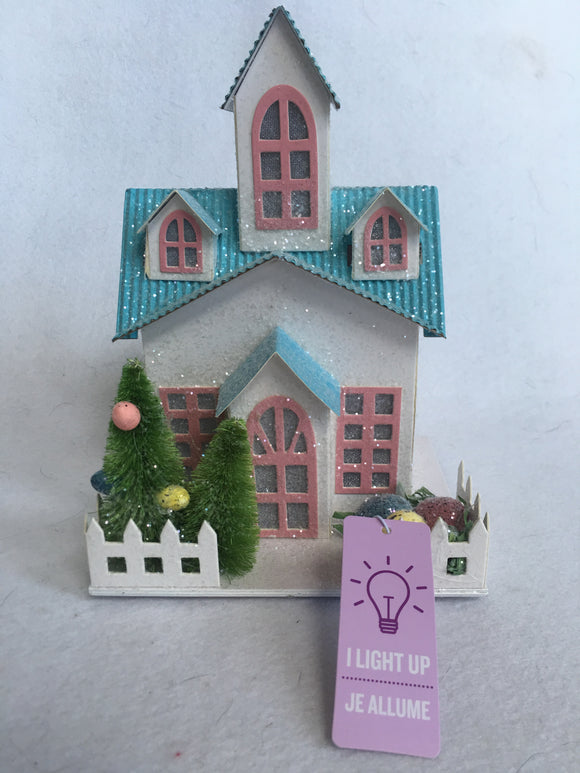 Easter Decorated Light Up Glittered Spring House