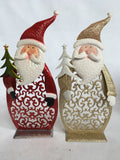 "Christmas 19"" Glittered Metal Santa Holding Tree"
