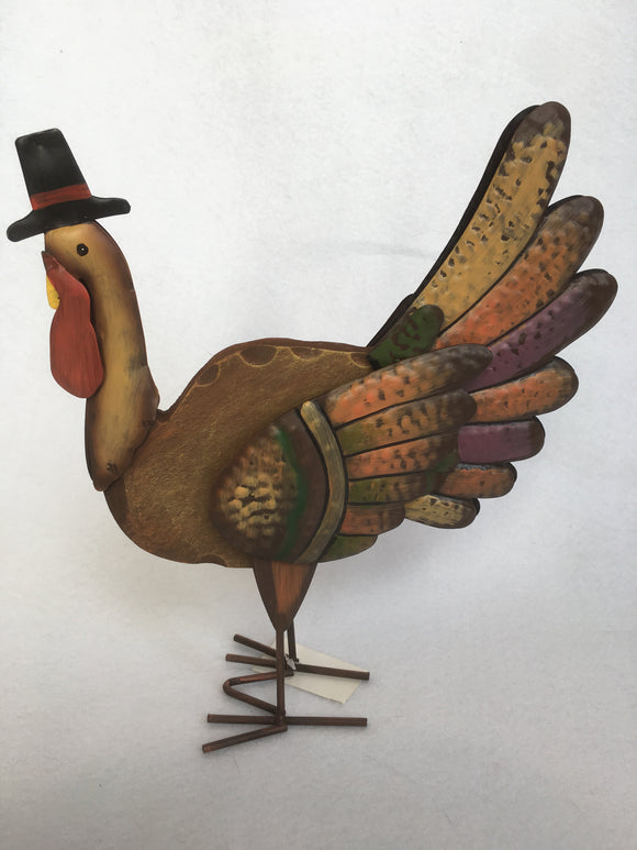 Harvest Thanksgiving Wood and Metal Rustic Standing Turkey