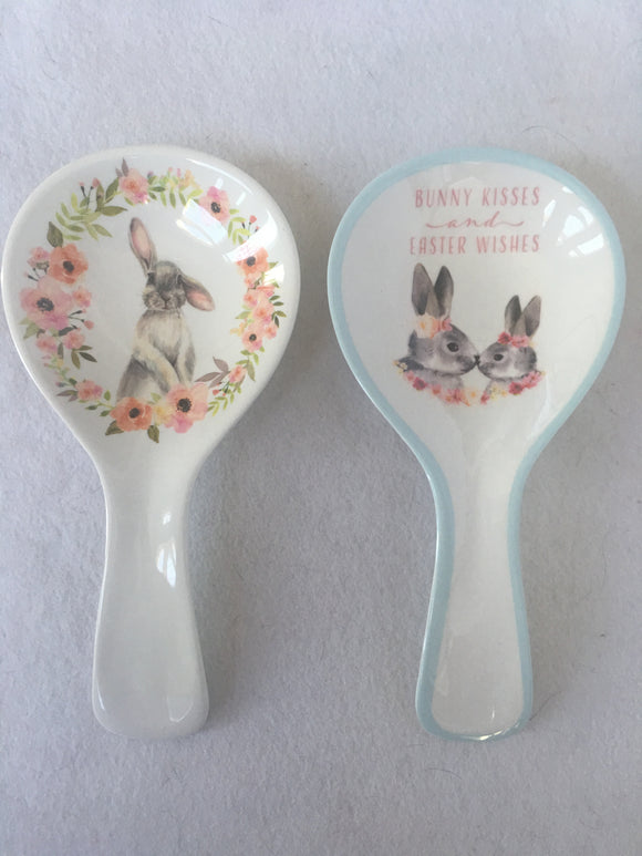 Easter Bunny Kisses or One Ear Up One Down Melamine Spoon Rest