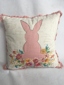 Easter Bunny with Flowers Pillow