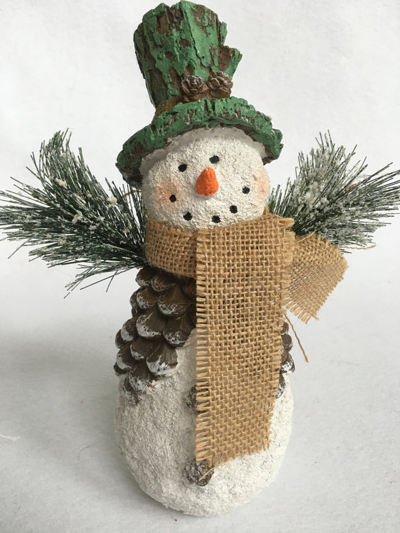 Christmas Pine Cone Accented Snowman