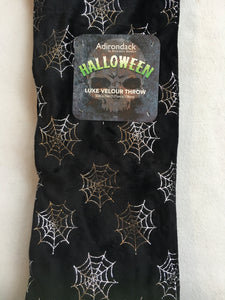 Halloween Silver Spider Web Luxe Velour Blanket Throw