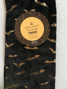 Halloween Velvet Plush Gold Flying Bats Luxe Plush Blanket Throw