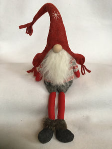 Christmas Large or Small Red and Gray Argyle Santa Gnome with Snowflake Hat